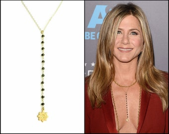 Black spinel Lariat Necklace as seen on Jennifer Aniston