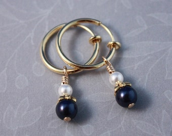 Clip hoops with Swarovski Night Blue and White pearls by EarthsOpulence