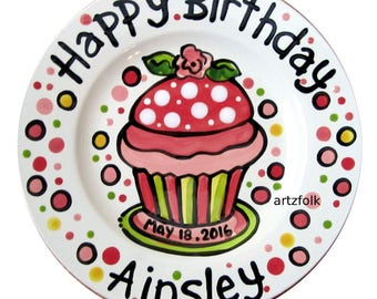 "7"" or 10"" Sweet little rose  and polka dots Happy Birthday cupcake personalized Plate custom ceramic"