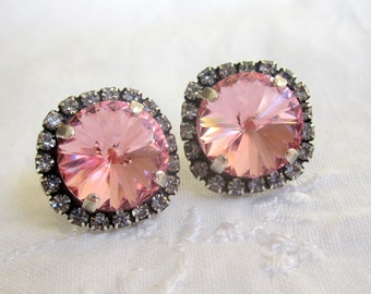 Pink earrings,pink studs earrings,Swarovski crystal earrings,pink bridesmaids earrings, Oxidized silver earrings, pink bridal earrings