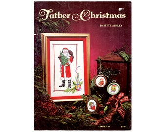 1981 Father Christmas Santa Cross Stitch Leaflet, Santa Cross Stitch Pamphlet, Vintage Cross Stitch, Santas, by NewYorkTreasures on Etsy