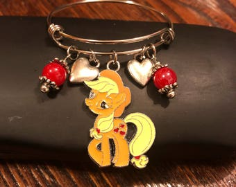Love Apple Jacks My Little Pony  - Child size stainless steel bracelet (adult size available)