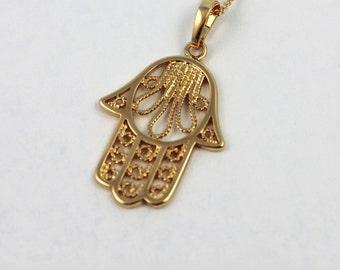 Hamsa Necklace 18kt Gold Filled Hand of Fatima Pendant Womens Girls Kabbalah Jewelry Custom Necklaces