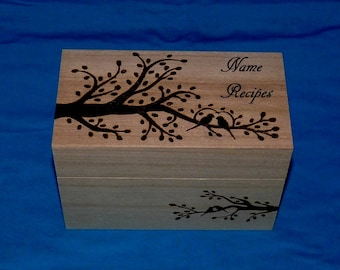 Personalized Recipe Box Custom Wood Burned Recipe Box Wedding Recipe Box Engraved Recipe Box Owl Floral Bridal Shower Gift