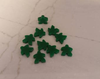 Green Meeples for our 2018 10 x 10 Board Game Challenge Plaque