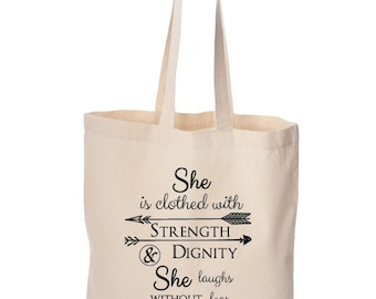 Strength and Dignity Tote. Mother's Day Gift. Tote Bag. Bag. Tote Bags. Christian. Christian Tote. Christian Gift. Gift Idea. Gifts for Her.
