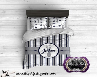 Deer Hunter and Arrow Bedding Custom Design and Personalized Comforter or Duvet with Monogram