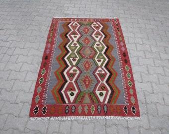 VINTAGE TURKISH KILIM Rug, Boho Rug Kilim, Bohemian Kilim Rug, Colorful Turkish Nomadic Kelim Rug, Turkish Tribal Kilim Rug, Vintage Kilim