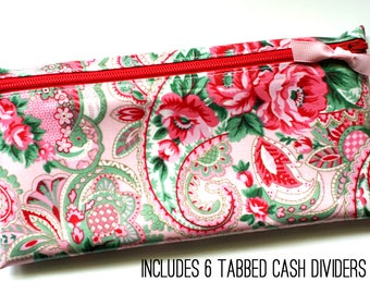 Cash budget wallet | 6 sturdy cash dividers | pink and green paisley laminated cotton