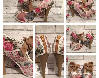 Vintage Paris Floral heels shoes gift for her lace   Eiffel Tower France French