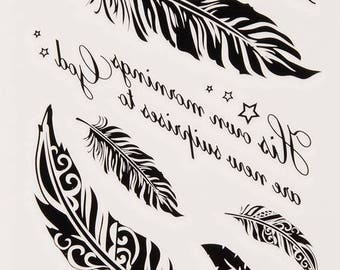 Feathers Tattoo Sheet - 1 Pc