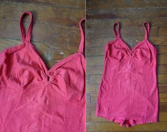 1930s - Vintage- Pink Jantzen Swimsuit-MEDIUM- Swimwear
