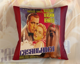 Yorkshire Terrier Art Pillow Case Throw Pillow - Casablanca Movie Poster  Perfect DOG LOVER Gift for Her Gift for Him