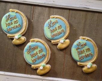 Globe Cookies - Adoption Cookies - Customizable - One Dozen