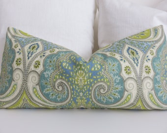 12x26 Pillow Cover - Kravet Pillow Cover-Aqua Green -Paisley Pillow Cover - Latika Aqua Pillow-Pillow cover- Lime Green pillow Cover