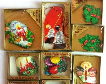 Vintage Dennison Christmas Sticker Lot - 6 Unopened Packages