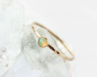 Opal 14k gold ring, stackable birthstone ring, october birthstone, small opal gold ring, solid gold ring, opal stack ring, stacking ring