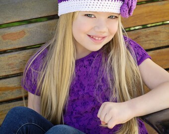 """RTS in all sizes Crocheted Beanie Hat """"The Jaylynn """" Blackcurrant, Plum,  White Flowers Trim Dainty Baby Toddler"""