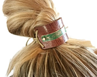 Rustic Hair Piece, Leather & Copper Bun Holder, Hair Accessory, Ponytail, Rustic Hair Accessories, 3rd Anniversary Leather