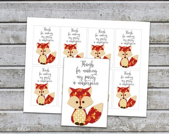 Fox Birthday Baby Shower Party Favor Tags Fox Thank You Party Favor Tags Printable Digital File (495-3) INSTANT DOWNLOAD
