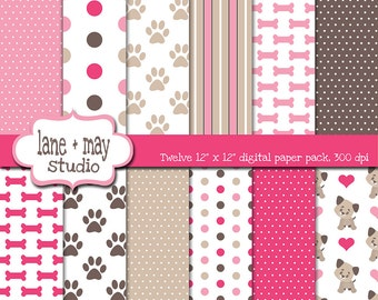 digital scrapbook papers - pink and chocolate brown puppy dog theme patterns - INSTANT DOWNLOAD