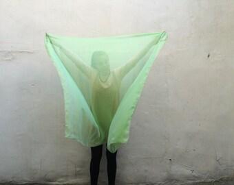 green two tone - Swan Transforming Silk Zodiac Shawl