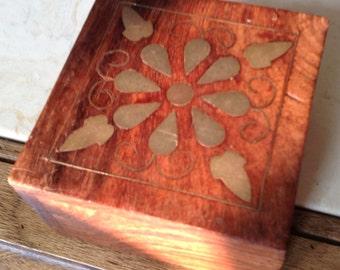 Brass Inlay Wood Keepsake Box