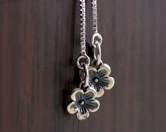 Cherry Blossom Sterling Silver Earrings, Teen Tween or Women, Delicate Box Chain, Tiny Floral, Simple Threaders, Flower Jewelry