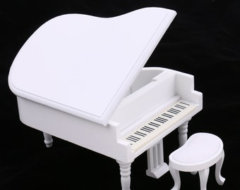 1/12 Scale White Wooden Classic Piano Dollhouse Miniature Musical Instrument Pretend Play Doll House Decor for Children Toy
