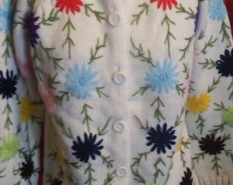 Mom's soft flower power sweater 1960's handmade