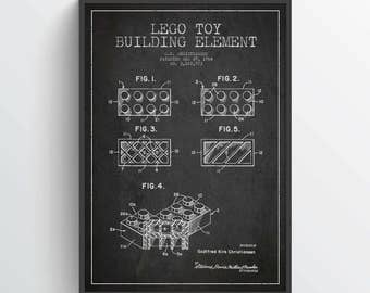 1964  Lego Toy Building Patent Poster, Lego Poster, Lego Print, Lego Decor, Wall Art, Home Decor, Gift Idea, GT14P