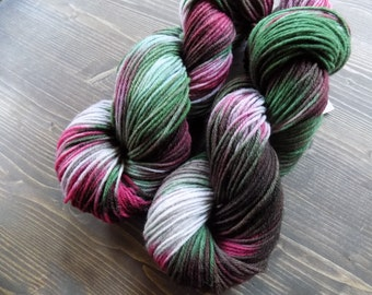 Hand Painted Yarn, Hand Dyed Yarn, Worsted Weight Yarn, Superwash Merino Wool, Christmas, Holiday, Red Green Silver