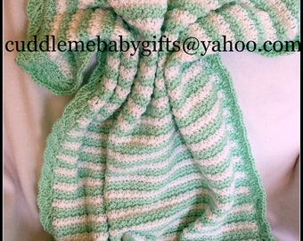 Baby Shower Handmade Crochet Baby Blanket baby Mint Green and White Baby Afghan Baby Shower Gift Neutral Gender Crochet Baby Blanket