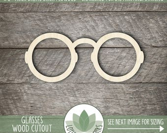 Wood Glasses  Shape, Unfinished Wood Glasses Laser Cut Shape, DIY Craft Supply, Many Size Options, Blank Wood Shapes