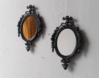 Wall Mirror Set, Entry Way Decor, Vintage Oval Frames, Small Wall Decor, Apartment Decor, Black Home Decor, Small Art