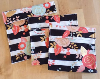 Black and white floral stripes reusable snack bags