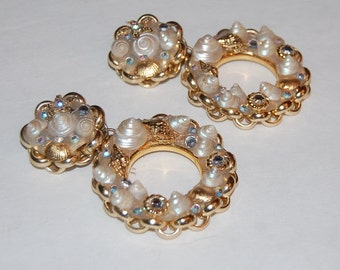 Huge Seashell Rhinestone Hoop Earrings Vintage Statement Mod Wild Gypsy Gal Amazing