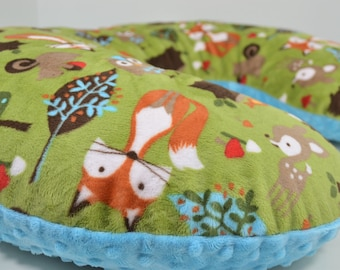 Minky Boppy Cover - Forest Tails Minky - Turquoise Minky Dimple Dot - Nursing Pillow Cover - Double Minky - Boppy Pillow Sham