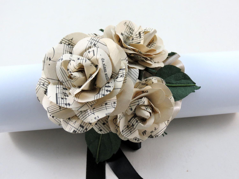Paper flower corsage demirediffusion paper wrist corsage sheet music wedding corsage paper paper flower corsage mightylinksfo