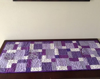 Purple floral table runner
