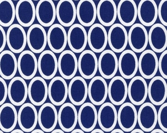 Half Yard Remix Ovals in Navy, Ann Kelle for Robert Kaufman Fabrics, 100% Cotton Fabric
