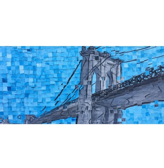 "New York City - Brooklyn Bridge - Architectural Painting: 10""x20"" Original Painting"