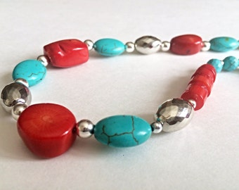 Turquoise marble necklace, red stone necklace, beaded necklace, vintage jewelry, handmade jewelry, unique jewelry