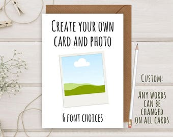 Create Your Own Photo Card | Personalised Anniversary Card | First | Custom Greeting Card | him her Wife Husband | By Flamingo Lingo (B235)