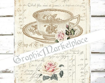 Tea Time French Cup of Tea Cafe printable Instant Download Shabby Chic Transfer Linen digital collage sheet graphic No. 818