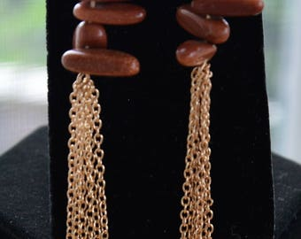 Goldstone Nugget Semi-Precious Stone, Gold tone Tassel Pierced Earrings, Vintage, Dangle (AB3)