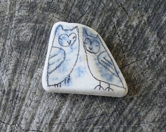 Two Blue Beach Pottery Owls - Totem, Animal Medicine, Twins, Spirit Animal, Calm, Wisdom, Wise, Integrity, Peace