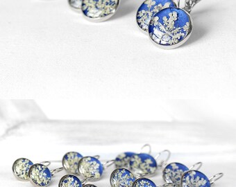 Royal blue earrings celestial skies Dangle earrings Wedding earrings for bridesmaids earrings Handmade earrings Classic earrings Real flower