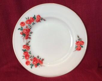 "Pyrex JAJ Rose Dinner Plates 9 3/4"" Diameter circa 1961"