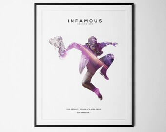 Infamous: Second Son Inspired Double Exposure Poster Print - Video Game Art